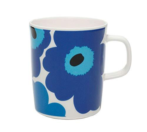 Marimekko - Becher, Henkelbecher, Kaffeebecher - Unikko Oiva - Steingut - blau / weiß - 0,25 l