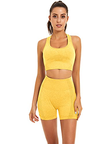 Toplook Women Seamless Yoga Workout Set 2 Piece Outfits Gym Shorts Sports Bra (Yellow, Medium, m)
