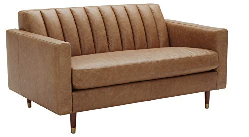 Amazon Brand – Rivet Damien Mid-Century Modern Channel-Tufted Living Room Chair, 35'W, Felt Grey