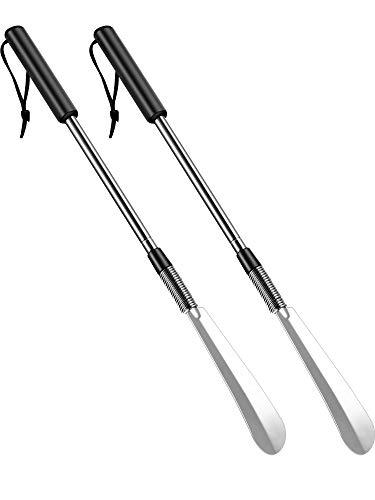 2 Packung Edelstahl Schuhanzieher Lang Griffschuh Horn mit Komfort Griff für Verschiedene Stiefel und Schuhe Entworfen für Senioren, Schwangerschaft (Stil B, Silber)