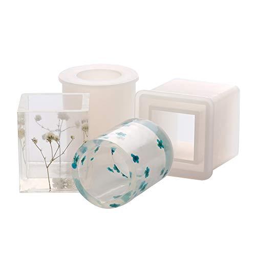 Hileyu Stampi in silicone per fiori, quadrati in resina epossidica, per lavoretti fai da te, cemento, vasi di fiori, posacenere, portapenne, in set da 2 pezzi