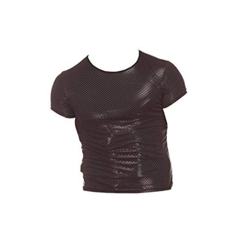 EXCEART Hombres Wet Look Tops Camisa de Cuero Sexy Camiseta sin Mangas Chaleco Camiseta Clubwear Culturismo Traje Talla Xxl