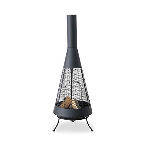 WHW Whole House Worlds Scandi Garden Chiminea, Free Standing Fireplace, Modern Farmhouse Style,...