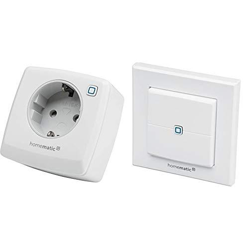 Homematic IP Smart Home Schaltsteckdose – smarte Steckdose mit kostenloser App und Sprachsteuerung über Amazon Alexa, 141836A0 & Wandtaster – 2-Fach, 140665A0