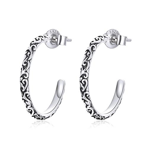textura retro guirnalda media círculo 925 pendientes de plata esterlina señora moda patrón 925 pendientes de plata sólida pendientes