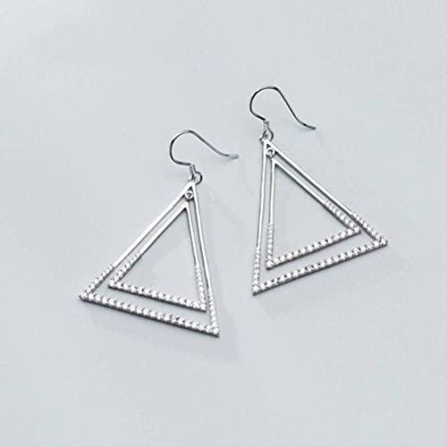 Good dress Pendientes de Plata S925, Pendientes de Diamantes de Doble Triángulo de Moda Y Atmósfera para Mujerpendientes de plata s925
