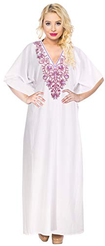 LA LEELA Mujeres caftán Rayón túnica 3D HD Impreso Kimono Libre tamaño Largo Abaya Vestido Jalabiyas de Fiesta para Loungewear Ropa de Dormir Playa Todos los días Cubrir Vestidos Ghosts Blanco_Y233