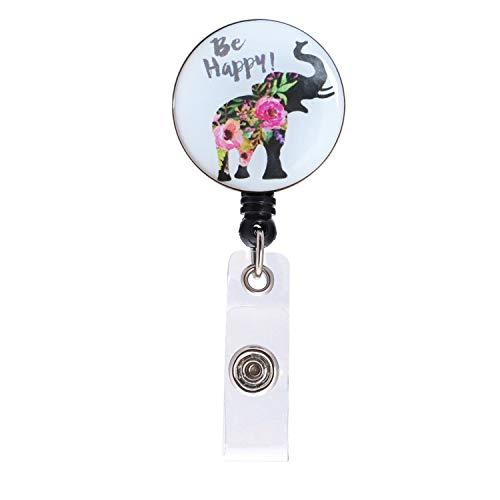 Nurse Badge Reel, Be Happy Flower Elephant Retractable ID Card Badge Holder with Alligator Clip, Name Nurse Decorative Badge Reel Clip on Card Holders