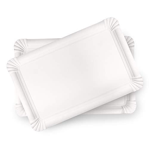 Juego de 20 bandejas de cartón blanco reciclado – bandejas de presentación para repostería o aparador frío – 100% ecológico (23 x 33 cm)