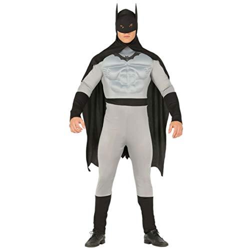 Guirca Costume Vestito Abito Travestimento Carnevale Halloween Adulto Supereroe, Batman con Muscoli, Uomo Pipistrello (Taglia L (52-54))
