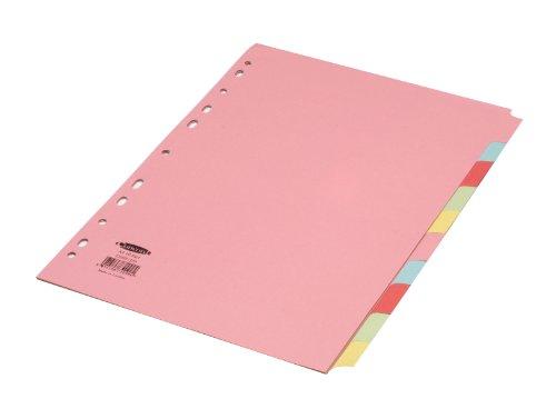 Concord - Separadores para archivador (A4, 10 divisiones, pestañas de colores)