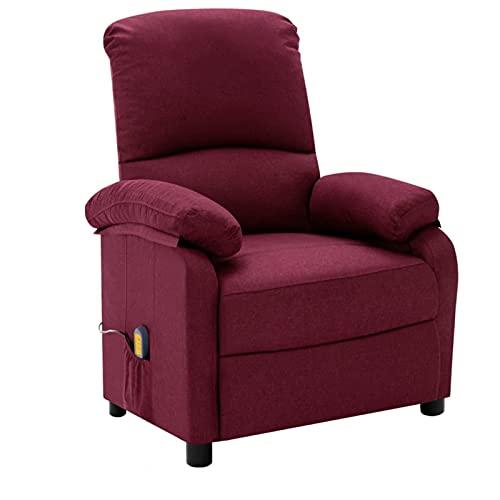 Gawany Sillón reclinable de Masaje eléctrico Sillón Relax de Salón, Masaje de Vibración de 6 Puntos, Respaldo y Reposapiés Ajustable, Calentamiento Asiento de Tela Morado