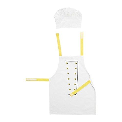toppklocka de los niños delantal con un gorro de cocinero, color blanco/amarillo