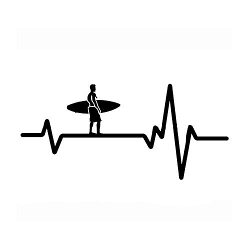 SUIFENG Car Stickers 15x6.9CM Surfer Heart Beat Line Surfboard Decor Car Sticker Accessories Vinyl Silhouette