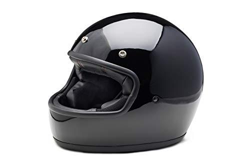 Casco de moto integral El villano by iguana custom estilo retro vintage con corchetes para pantallas negro brillo (S)