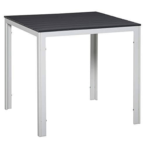 Outsunny Patio Garden Square Steel Dining Table w/Wood-imitating PE Surface, Outdoor Furniture for Porches, Backyards, Gardens or Poolside Dark Grey