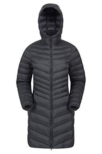 Mountain Warehouse Florence Womens Winter Long Padded Jacket - Water Resistant Rain Coat, Lightweight Ladies Jacket, Warm, 30C Heat Rating - for Outdoors, Walking Jet Black 14