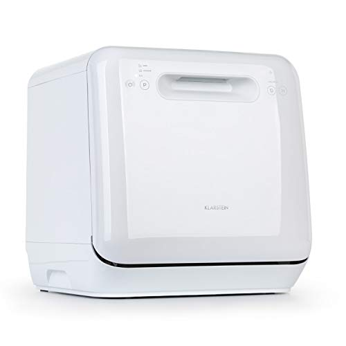 Klarstein Aquatica - Mini-Tischgeschirrspüler, EEC A, 125 kWh/Jahr, 2 Maßgedecke, freistehend, Installationsfrei, 360° Wäsche, 3 Programme, Touch Control, Wasserverbrauch: 5 Liter, weiß