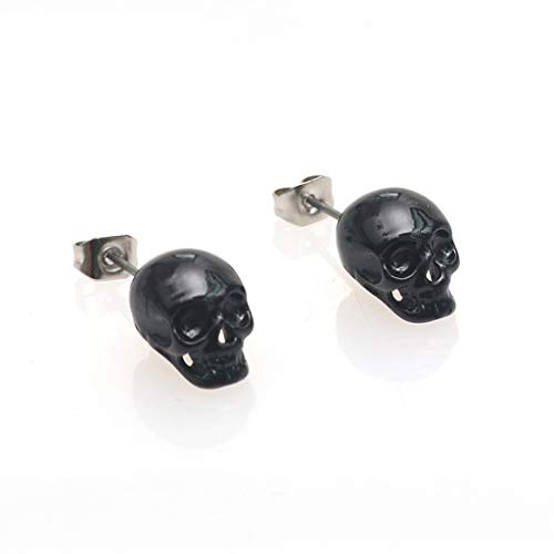 AERVEAL Ear Stud, Qianqian56 Punk 3D Skull Head Hip-Hop Ud Pendientes Unisex Fion Jewelry Skeleton Earring-Black