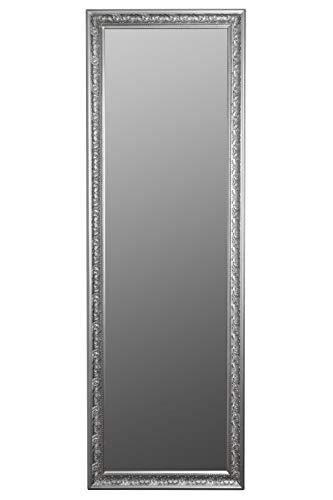 elbmöbel Wandspiegel Spiegel Antik Stil Barock mit Facettenschliff - XL Ankleidespiegel Ganzkörperspiegel Garderobenspiegel Holzrahmen, Farbe:Silber, Größe:187 x 62 cm