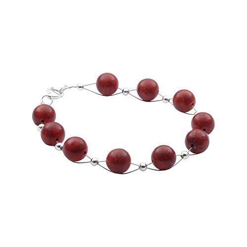 Bracciale in corallo schiuma Corallo Sfera &{925} argento corallo braccialetto rosso scuro liscio donna