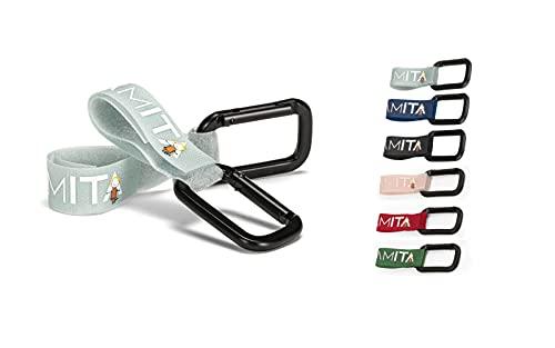 Coppia di Ganci per Passeggino UAMITA con Moschettone in Alluminio e Cinturino a Strappo per l'Aggancio al Maniglione del Passeggino (Ciano)