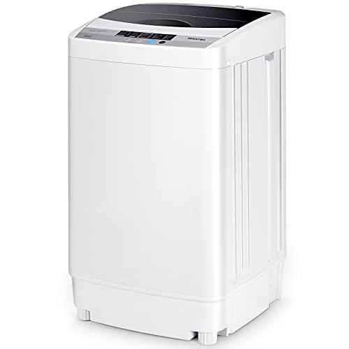 COSTWAY Mini Waschmaschine Toplader Waschmaschine mit Schleuder / 4,5kg / 250W-310W / 50×50×85cm (Medium)
