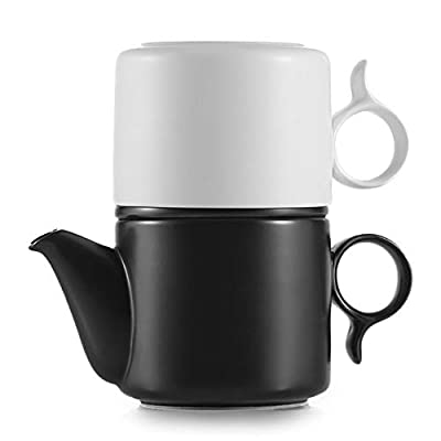 ZENS Tea for One Set, 7 Ounce Single Matte Ceramic Tea for One Teapot and Cup Set with Flat Infuser for Loose Tea,Black & White