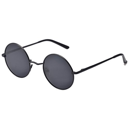 QHGstore Hombres Mujeres Ronda de la vendimia con espejo gafas de sol gafas al aire libre gafas de sol deportivas negro