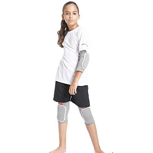 Anabei Deportes codo y rodillera setforProtección infantil baloncesto danza anticaída, gris