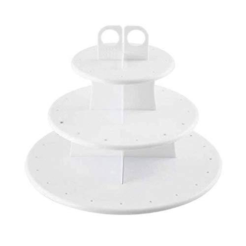 HPiano Soporte para Cupcakes, Soporte para Cake Pops Y Cupcakes,Soporte de 3 Cocina de Capas para Tartas y Cupcakes, de plástico, Apto para Uso alimentario,Blanco