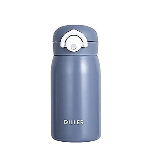 Gwuqbs Botella de vacío de Acero Inoxidable 316 de 320 ml, Salto de la Bomba de Moda, Taza de Regalo portátil de la Moda Creativa del Estudiante, Gris