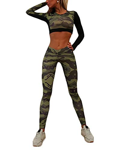 ORANDESIGNE Damen Sportanzug Trainingsanzug Stretch Langarm Crop Top + Leggings Fitness Set Sport Freizeit Zweiteiler Camouflage Yoga Gym Set A 01 Grün (Set) Medium