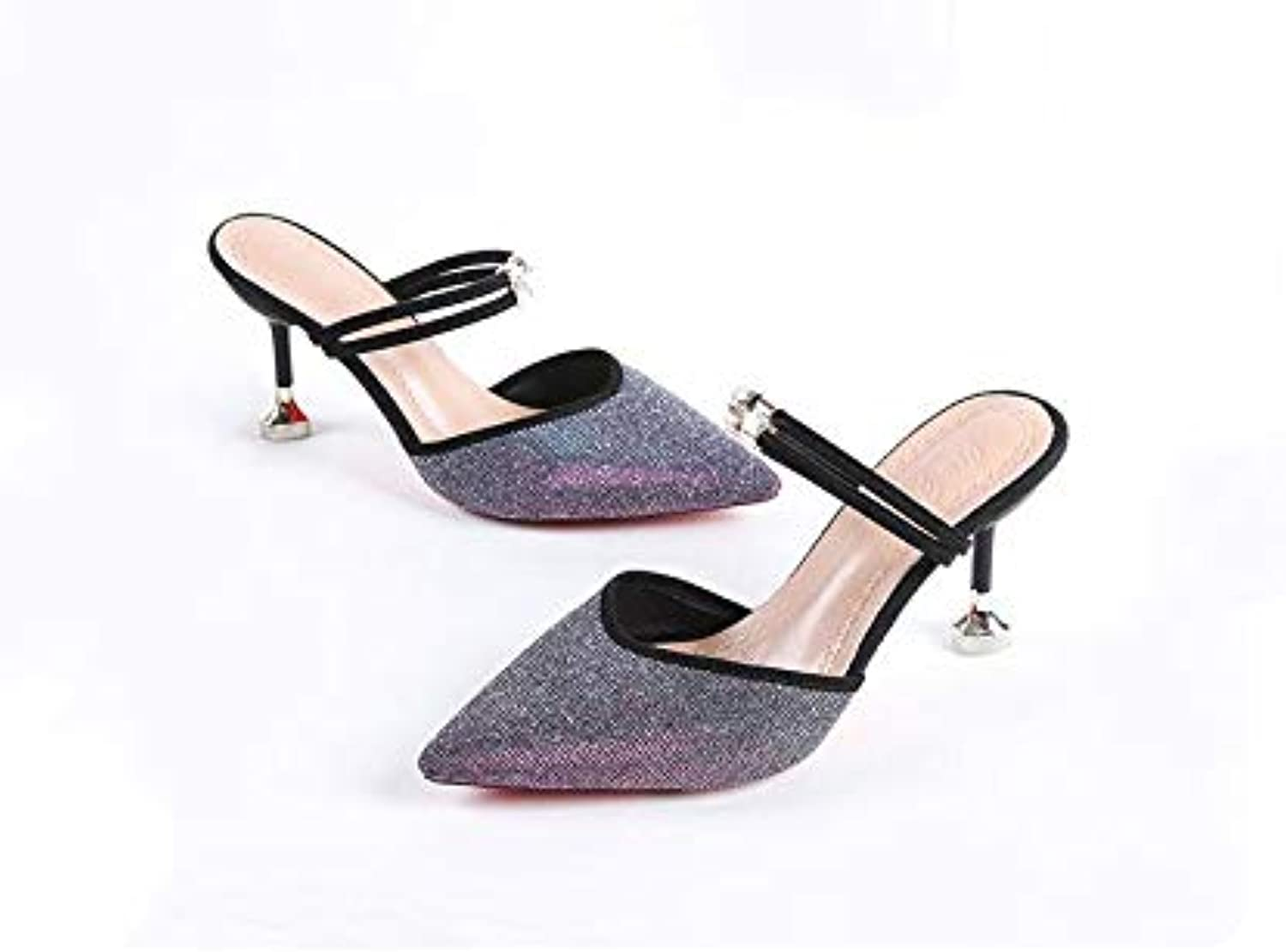 Duduxiaomaibu Heeled Mules for Women, Pointed Toe Slingback Pumps Buckle Kitten Heels Mules Slides Backless Dress Sandals