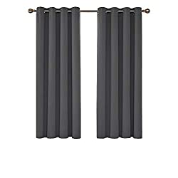 READY MADE - 2 grey curtain panels per package, each panel measures 117 cm wide and 138 cm long, inner diameter of the each ring measures 4cm. Eyelet curtains are more convenient to assemble. PREMIUM TEXTURE - Features a lightweight soft touch mate t...