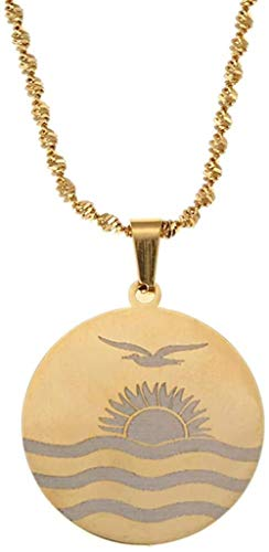 Liuqingzhou Co.,ltd Collar de Acero Inoxidable Kiribati Styles Collares Pendientes para Mujeres Joyas Redondas