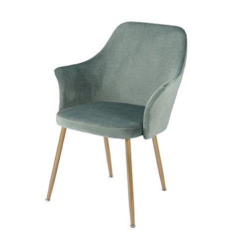 DORAFAIR Esszimmerstuhl Samt Kissen Retro Stuhl Sessel Polstersessel mit Metall Gold Beine,Küche Stühle und Wohnzimmer Stühle,Grün