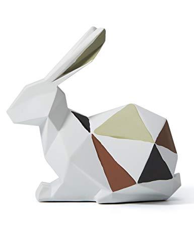 Amoy-Art Figurillas Decorativas Conejo Estatuilla Animales para el Hogar Regalos Souvenirs Giftbox Resina 15cmH