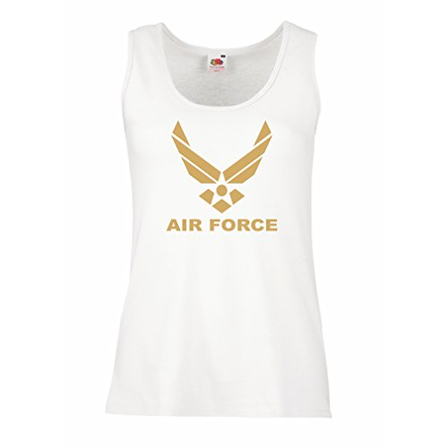 lepni.me Serbatoio,Maglietta Senza Maniche Femminile United States Air Force (USAF) - U. S. Army, USA Armed Forces (X-Large Bianco Oro)