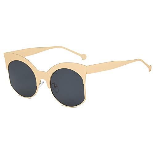 Taiyangcheng Big Cat Eye Sonnenbrille Frauen Metall Halbrahmen Sonnenbrille Übergroße Cat Eye Sonnenbrille Damen Pink Eyewear,a2