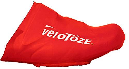 VeloToze–Puntera Cubre Ciclismo Resistente al Viento Resistente al Agua aerodinámicos, Rojo, un tamaño