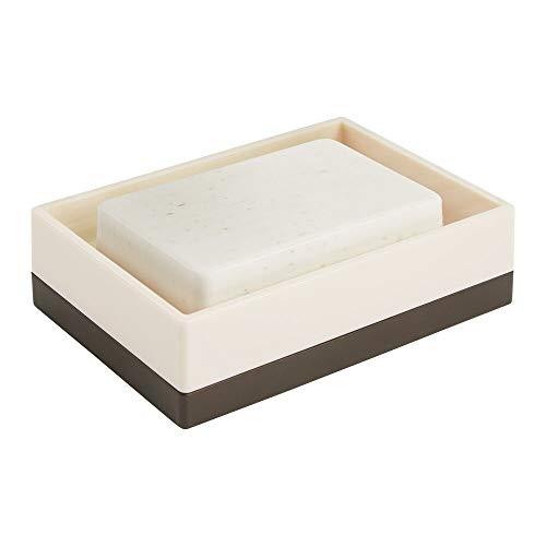 mDesign Jabonera compacta para lavabo o fregadero – Moderna bandeja para jabón de plástico – Organizador de fregadero y estropajero para baño, aseo de invitados o cocina – color crema y bronce