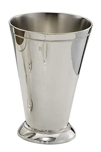 ROYAL QUEEN Bicchiere Vaso Fiori portapenne Argentato Argento Sheffield Stile perlinato cod.5107861C cm 16,8h diam.10,4 by Varotto & Co.