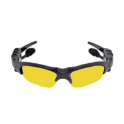 DIOUS Gafas de Audio Inteligentes, música Escuchando música estéreo, Deportes inalámbricos, para Juegos de Juegos de Viaje con vidrios Bluetooth Bluetooth,Amarillo