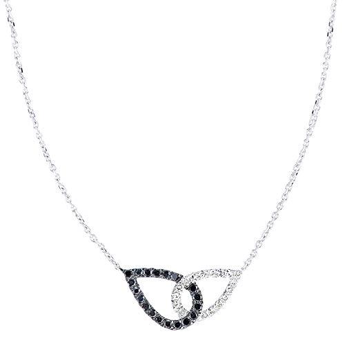 Naava Women 9ct (375) White Diamond Pendant Necklace of Length 46cm PNE20033WBLKD