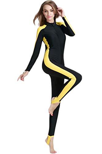 Femme Ultra Fin Corps plein Protection UV longue vue Wetsuit de tout le corps Maillot de bain, Femme, Lange Beinschutz -Gelb