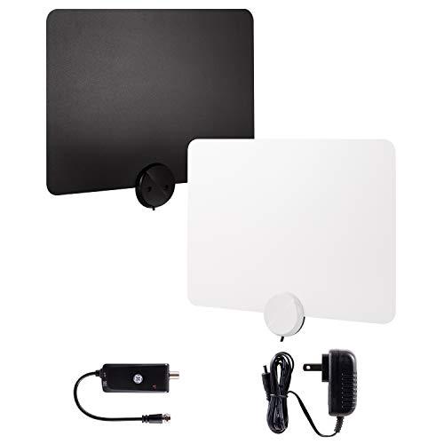 GE Ultra-Thin Amplified TV Antenna, 4K Ready 1080P Digital HDTV UHF VHF, Long Range Indoor TV Antenna, Amplifier with LTE Filter, Reversible Black/White Finish, 48862