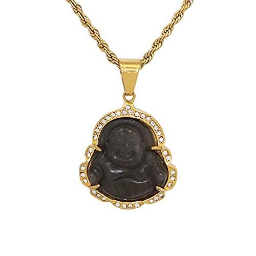 18k Gold Plated Laughing Buddha Pendant Necklace Green Jade Cubic Zirconia Gemstone Lucky Amulet Jewelry for Women Men (Black)