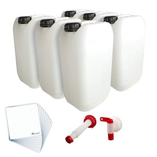 Trevendo® 6er Pack 15 Liter Leerkanister inkl. Auslaufhahn, Ausgießer Flex und 10 Etiketten