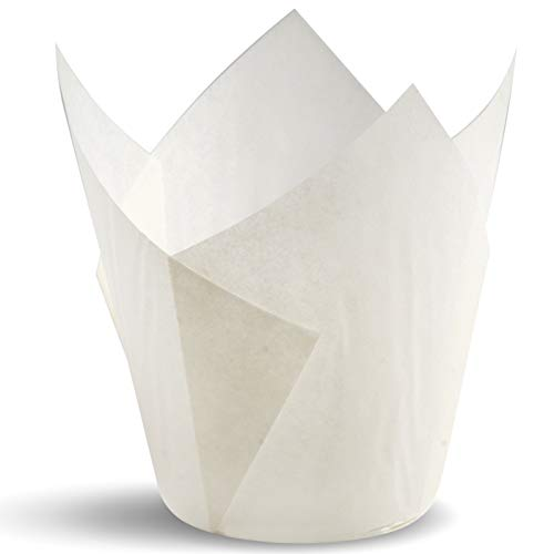 Tulip Cupcake Liners, Natural Baking Cups for Standard Size Cupcakes and Muffins Liners (100, White)